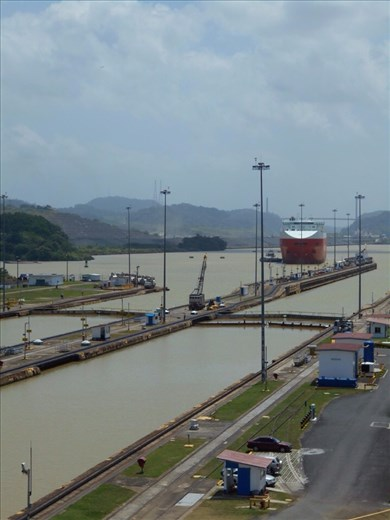 The two lanes of the Miraflores Locks.