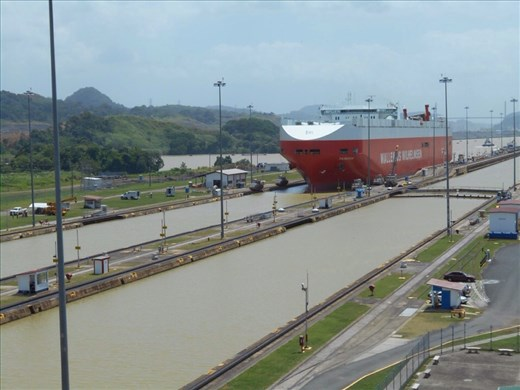 First ship we saw pass through the locks. Automobile carrier.