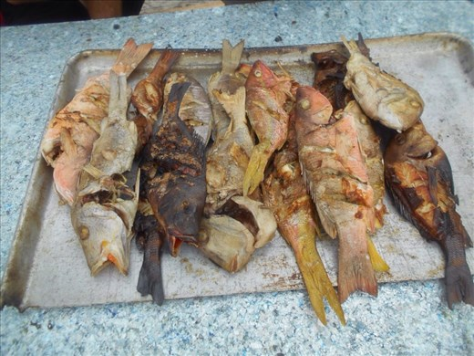 Lunch, speared and BBQ'd for us by local indians the Kuna