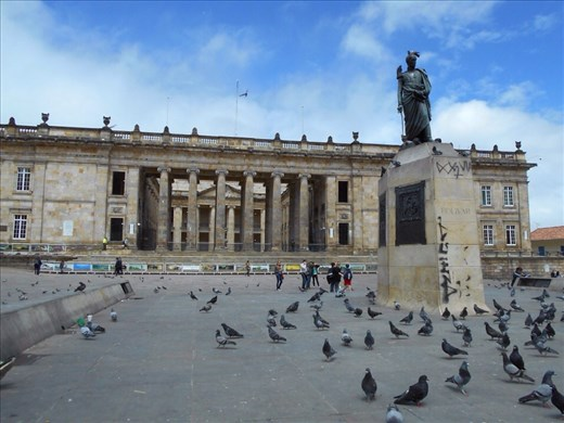 Sightseeing in Plaza de Bolivar (Bolivar Square), the Capitol Building.