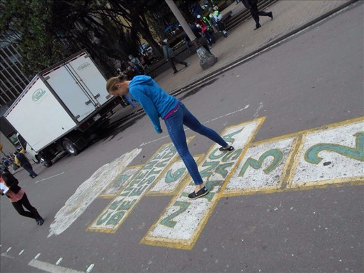 Hopscotch on the road just because we could.