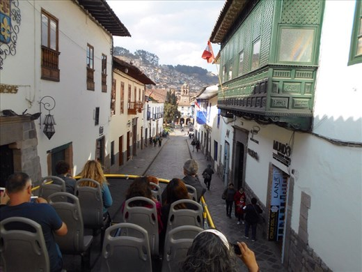 Sightseeing bus ride around Cusco city.