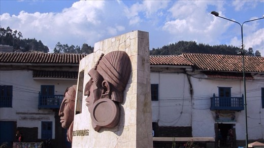 Sightseeing bus ride around Cusco city. Monument to the first Inkas.