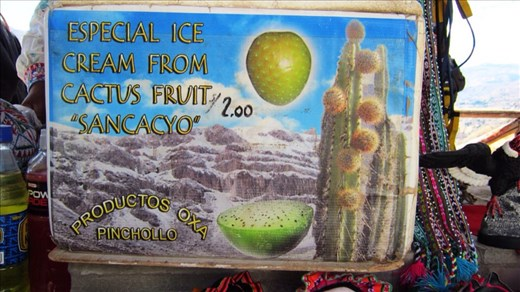 Fruit of the cactus made into yummy ice cream by the locals. Tastes like kiwi fruit.