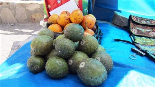 Fruit from the cactus. Tastes like kiwi fruit.