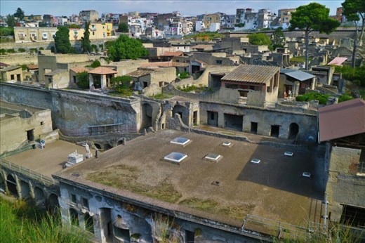The city of Herculaneum,  preserved after the eruption of Mt Vesuvius almost 2000 years ago