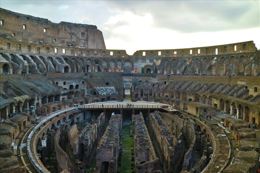 One of the first people inside the Colosseum