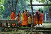 A young monk turns to pose while his fellow students get ready for their English class. : by joshbfilm, Views[141]