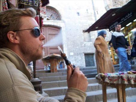 Smoking a nargileh in the shadow of Umayyad