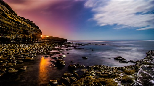 Sunset Cliffs, San Diego, CA This image was shot by the moonlight late at night, when the peach and serenity really comes out.  It was just myself and the ocean in harmony.