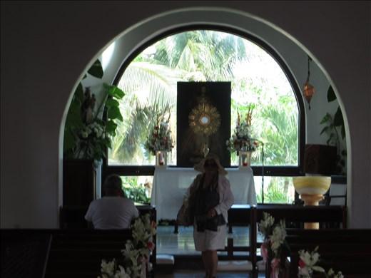 Looking into little church just behind Playa beach