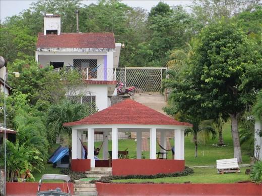 Bacalar hostel from lagoon