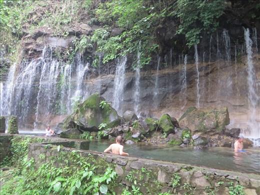 Juayua - another waterfall - gary in pool