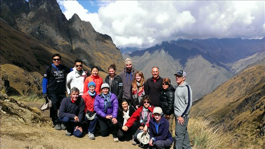 Group photo at top of pass on trek