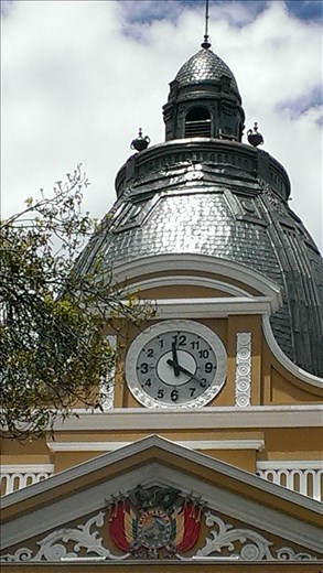 La Paz - clock on main square - note the numbers
