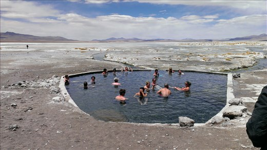 SFT - Day 2 - Hot pool at lunch stop - on edge of a laguna