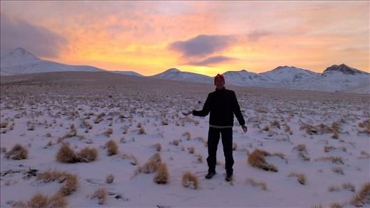 Sunrise on altoplano Bolivia on way to Chile