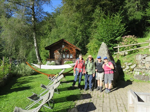 Les Houches - outside hotel ready to set off - day 1 of walk