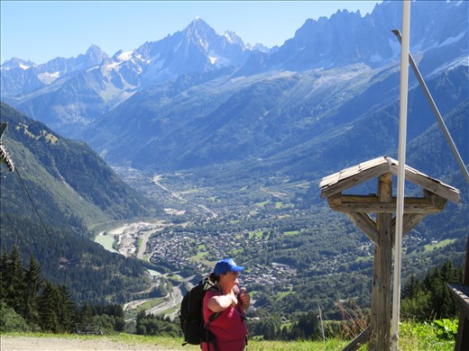 View of Les Houches in  valley below - first rest stop after 1hr up
