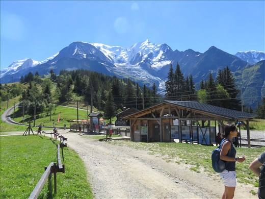 Col de Voza - 1653m - closer view of Mont Blanc.Water stop.Resort Hotel nearby.