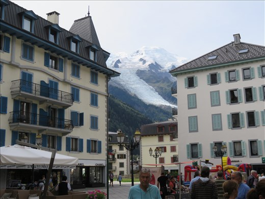 Streetscape - Mont Blanc in background (dominates the town)