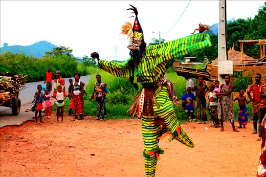 Man, Cote d'Ivoire... Traditional stilt dancing, that is rarely performed.