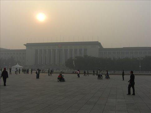 Tiananmen Square....it's a bit hazy