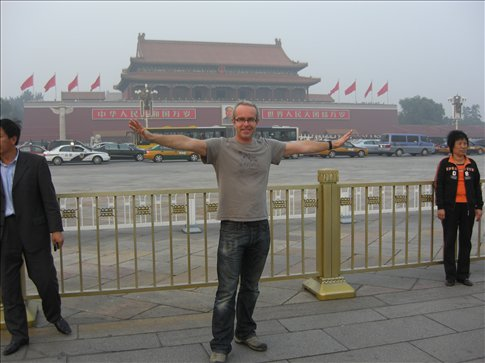 Finally arrived in Tiananmen Square, Beijing.