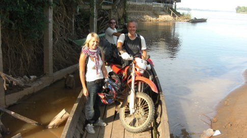 Three Falang, Two Bikes and two boatman.  It was a squeez but we made it!