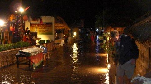 The main street flooded.....stray flip flops everywhere