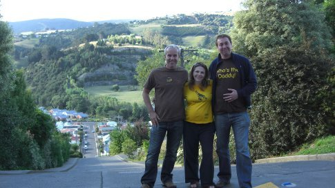 Me, Rachel, and Dave at the top of the Baldwin Street, Dunedin...the steepest hill in the world!!!