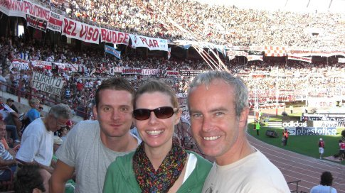 Paul, Clare and me at the River Plate Game