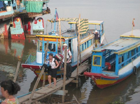 Disembarking at Neak Leung, site of accidental B-52 bombing featured in The Killing Fields movie/book.