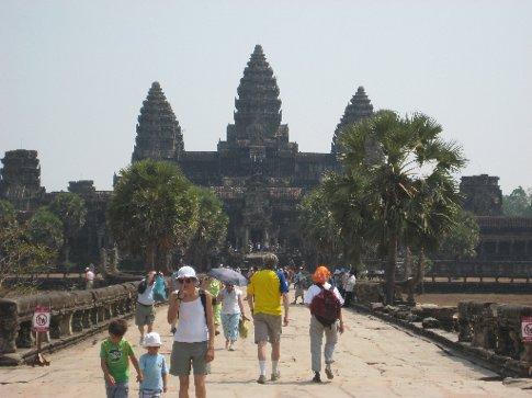 tourists + the famous temple