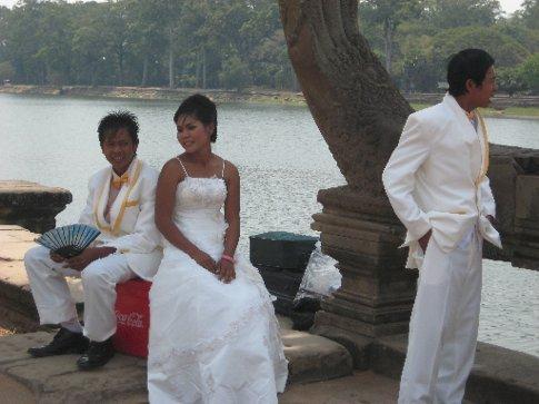 bride and groom, Angkor Wat