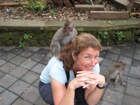 In the Sacred Monkey Forest (seconds later the monkey on the right started putting his hands down the back of my pants!)