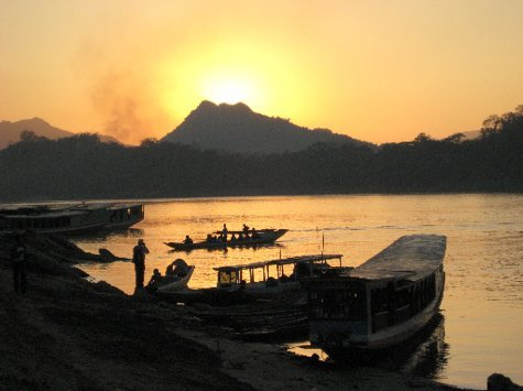 sunset from the banks of the Mekong