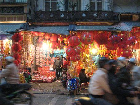 Tet decorations for sale, Hanoi