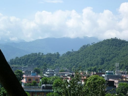 The view of Old Pokhara from the Buddhist Monastery