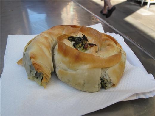 The most delicious spinach phyllo wrap at the Mercat de la Boqueria