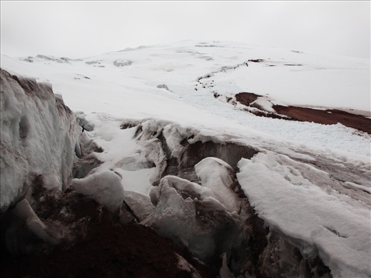 The Cotopaxi glacier at 16,500ft