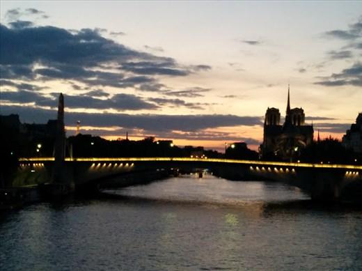 Notre Dame, Eiffel Tower, sunset
