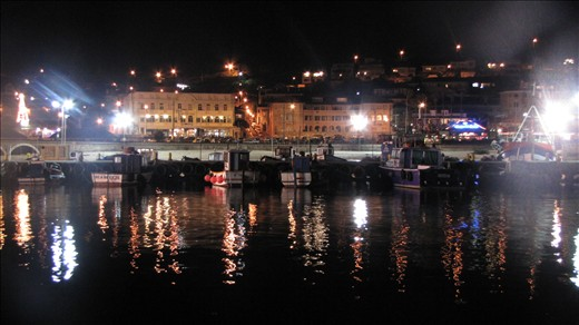 The view from the harbour wall at night