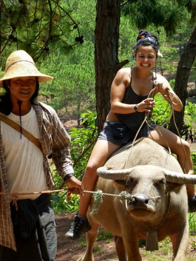 Riding a water buffalo in the mountains of Kalaw