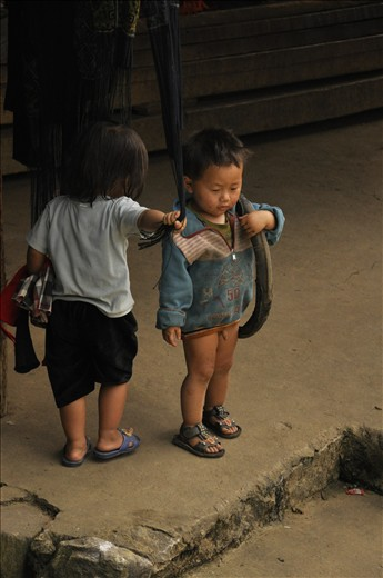 Children can use everything to play, like that small boy, who was completely focused on his old tire in Cat Cat village near Sapa.