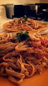 Homemade cilantro-alfredo sauce + garlic-lime shrimp: by kasim_hardawaykc, Views[101]
