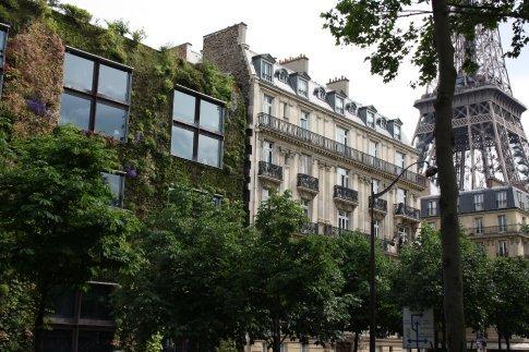 Paris, the Old & the New. Quai Branly Museum next to the Seine.