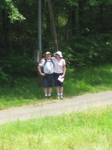 Cecile and Ian, the last 200 metres of the walk. IN THE DISTANCE!!!