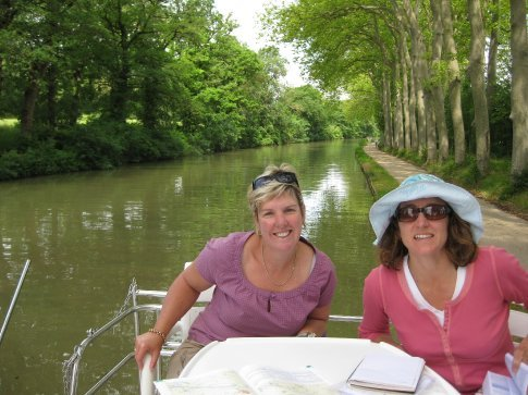 Cecile and Kathy at the back of the boat enjoying the atmosphere.