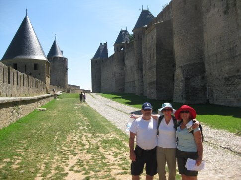 Kathryn, Cecile and Ian at Carcasonne. Just look at the weather!!